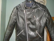 VINTAGE leather biker jacket 42 SIZE MEDIUM-NICE SCUFFING-TT LEATHERS-CAFE RACER