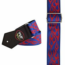2544 RED BLUE FLAME guitar bass cool strap UK acoustic electric man mens boys