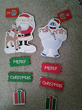 RUDOLPH RED NOSED REINDEER, SANTA & ABOMINABLE SNOW MONSTER WOOD WALL DOOR SIGNS