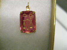 Vintage Zodiac LIBRA the scales glass etched intaglio pendant
