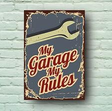 MY GARAGE MY RULES SIGN RETRO STYLE PLAQUE CLASSIC CAR MECHANIC SERVICE MAN CAVE