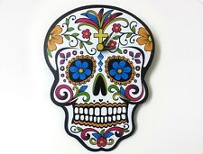 Mini White Sugar Skull Wall Clock Day of the Dead Modern Art Unique Decor Gift