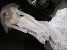 Vintage Wedding Gown in Preservation Box Lace Pearls Train & Veil Halloween