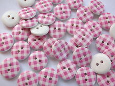 40 x PINK/WHITE GINGHAM 2 HOLE WOODEN 15mm BUTTONS, SCRAPBOOKING, CRAFT ETC.,