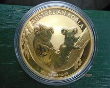 2011 AUSTRALIA KOALA  24 KT GOLD OVER 1oz .999 SILVER COIN PERTH MINT