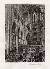 FREE FRAME Axel Herman HAIG 1900s Original Etching Westminster Abbey SIGNED COA