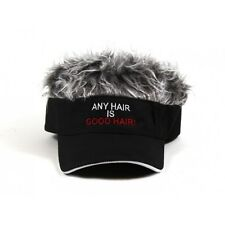 Flair Hair Visor Hat Golf Gray Grey  ANY HAIR IS GOOD HAIR Cap Spike Wig Black