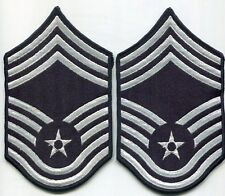 US Air Force CHIEF Master Sergeant Lot 2 Arm Patchs Blue Stripes