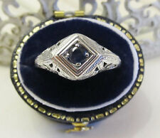 Natural Sapphire Sterling Silver Filigree Ring Vintage Art Deco Gift Box Sz 6.75
