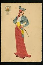 Embroidered clothing postcard Spain, Cadiz woman Vintage