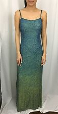 CACHE Formal Wear Full Beaded Evening Gown Blue OMBRÉ Dress Extra Small XS