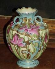 Moriage Nippon Iris Sky Blue Hand Paint Floral Heavy Gold 3 Handle Vase Early Pc