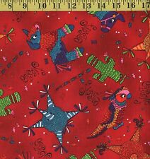 MEXICAN PINATA FIESTA PARTY Red Colorful Fabric 100% Cotton By the FULL YARD