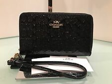 COACH Signature Debossed Patent Leather Double Zip Phone Wristlet F54808 Black