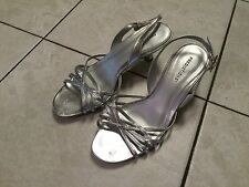 Pre Owned Predictions Open Toe Stappy Silver Heels Women's Size 7