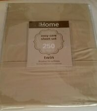 TWIN 250 count linen BEIGE TAN bedding set FLAT & FITTED Sheets, Pillowcase NEW
