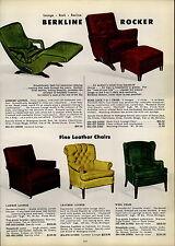 1954 PAPER AD Berkline Leisure Lounge Berk Lock Chair Chairs Lawson Mid Century