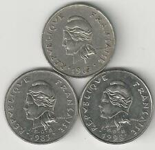 3 DIFFERENT 10 FRANC COINS from FRENCH POLYNESIA (1967, 1983 & 1998)