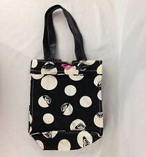 Roxy Polka Dot Tote Bag Purse Black With White Dots Lined With Pink Inside