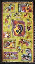 Cotton Fabric Panel Clothworks Laurel Burch Earth Tones Mythical Horses