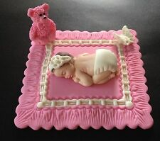 (1) Fondant  Baby girl on a pink blanket Cake Topper, Baby Shower, Birthday