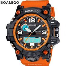 REGNO Unito Shock da Uomo DUAL DISPLAY DIGITALE LED Sports Divers Orologio in Nero/Arancione.