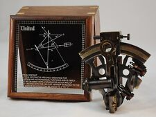 """Nautical Sextant Brass Navigational Tool-5"""" x 4.5"""" x 2.5"""" in Nice Wooden Case"""