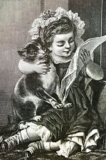Girl Child TEACHER CAT PUSSY'S MUSIC LESSON 1882 Antique Engraving Print Matted