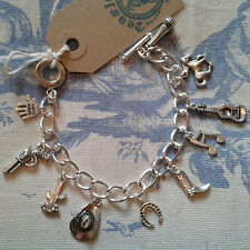 HAND MADE Country & Western Cowboy Line DancIng inspired Silver charm bracelet