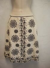 Lithe Anthropologie Embroidered Floral Skirt Size 12 Folkloric Beige & Black