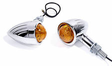 Mini Blinker Grooved Custom Chrom Bullet für Honda Suzuki  Chopper Cruiser bike