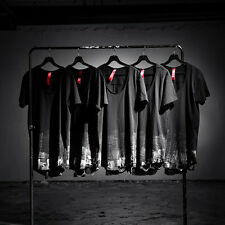ByTheR Men's Grunge Fashion Custom Under Paint Loose Neck T-shirt Black UK N