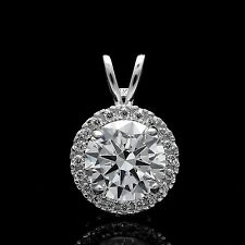 Real 14k Gold Round 1.00 CT Diamond Halo Pendant Solitaire Charm for Necklace