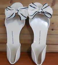 Chinese Laundry (40) 9.5 M Cream Jellys w Black Bow Peep Toe Shoes