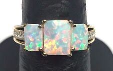 Gold Tone Sterling Silver Triple Rectangle Cabochon Opal Cz Cocktail Ring S 6.75