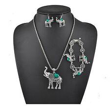 Set Türkis Elefant Halskette Frauen Ohrringe Schmuck Damenschmuck Halsschmuck