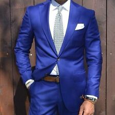 Blue Custom Made 2-Piece Mens Business Formal Wear Wedding Groom Tuxedos Suits