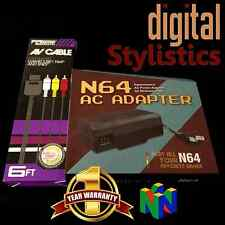 AC Adapter Power Supply & AV Cable Cord (Nintendo 64) NIB (NEW) N64 Bundle lot