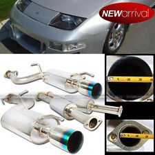 "For: 90-96 300ZX Turbo Coupe 4"" Green Tip Catback Dual Chrome Exhaust Muffler"