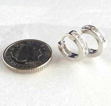 Clear CZ Zirconia White Gold Plated Men Child Birthday 11mm Tiny hoop Earrings