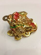 """FENG SHUI GOLDEN THREE 3 LEGGED TOAD FROG STATUE FIGURINE 3"""""""
