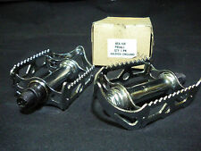 """Vintage Raleigh Bicycle steel chrome quill pedal 9/16"""" Axle 1970s NOS"""