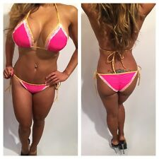 Connie's Pink Bikini w/ White lace, Yellow piping trim & ruched Bottoms M