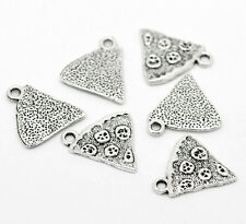 "20 DIY Silver Tone Pizza Charms Pendants Jewelry Component 20x19mm(3/4""x3/4"")"