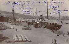 Barcelona Spain birds eye view docked ships in port real photo pc Z18702