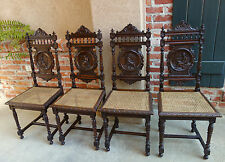 SET 4 Antique FRENCH Breton Brittany Dining Chair Carved Oak Figural Art w Cane
