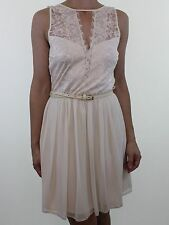 BNWOT ASOS ivory cream eyelash lace trim belted dress size 10 euro 38 with belt