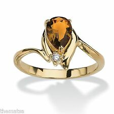 WOMENS 18K GOLD PLATED PEAR SHAPED CITRINE  RING SIZE 5,6,7,8,9,10