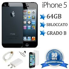 APPLE IPHONE 5 64GB NERO GRADO B ORIGINALE RIGENERATO RICONDIZIONATO ACCESSORI