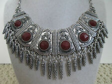 NWT Auth Lucky Brand Semi Precious Dark Red Stone Bib Statement Necklace $79